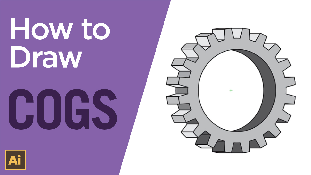 How to create a simple 3D cog or gear using Adobe Illustrator