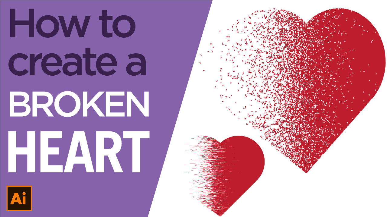 How to create an exploding heart, dispersion effect tutorial using Illustrator