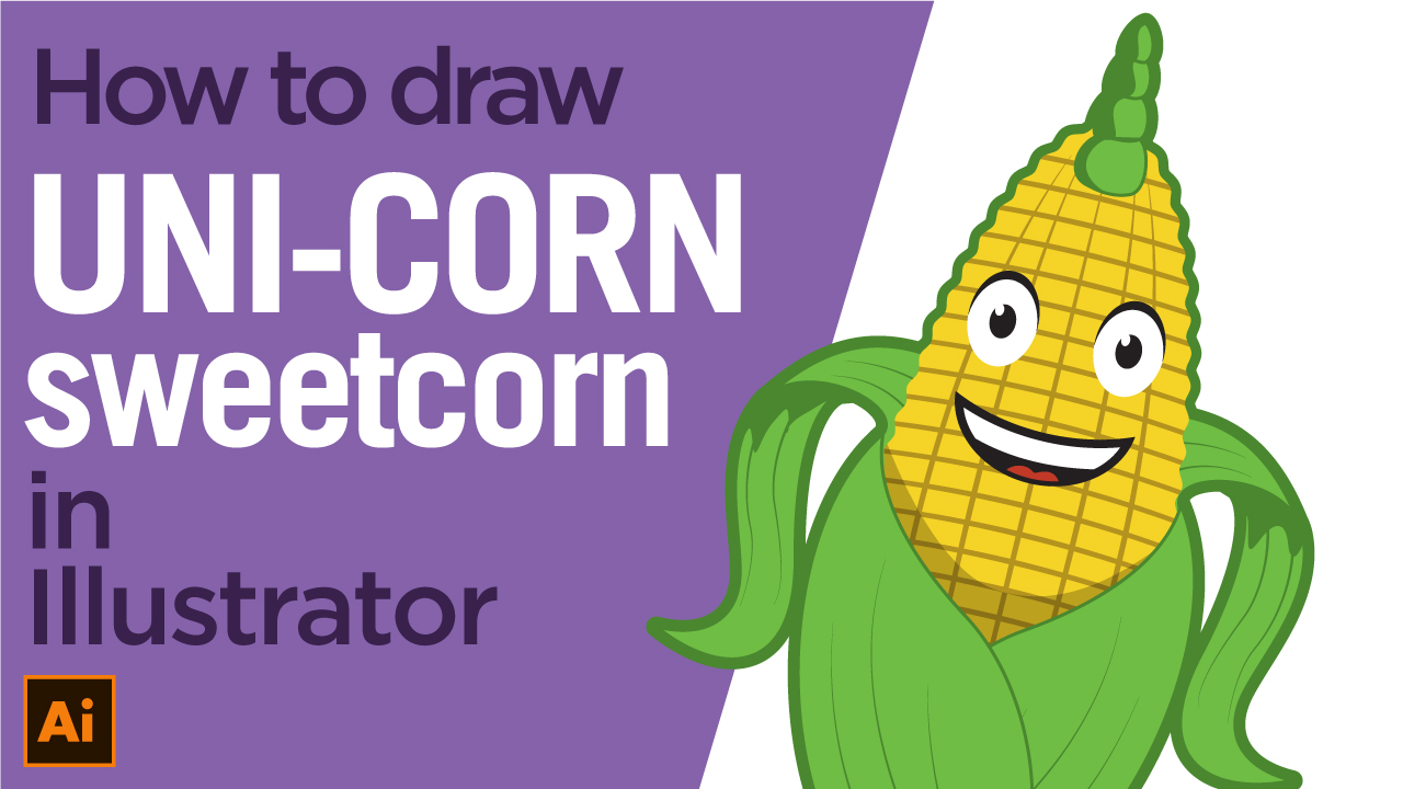 How to draw a corn, unicorn character in Adobe Illustrator
